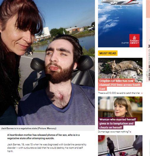 英國,少年,心理疾病,悲劇,醫院,植物人,罹患,邊緣型人格疾患http://metro.co.uk/2017/10/26/mums-heartbreaking-photos-of-son-starved-of-oxygen-after-suicide-attempt-7028654/