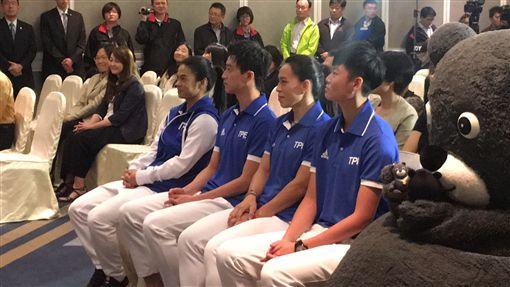 許淑淨、江宏傑、郭婞淳及莊佳佳四位世大運參賽選手,出席世大運記錄片記者會 盧冠妃攝