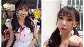 麵線攤老闆娘身穿貓咪女僕裝爆紅(圖/翻攝自青島佩臉書)