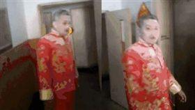 大陸天津一名新郎被鬧婚,慘遭滅火器狂噴一度昏迷,喜事險變喪事。(圖/翻攝微博)