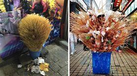 竹籤,垃圾桶,裝置藝術,大陸,遊客 (圖/翻攝自PTT)
