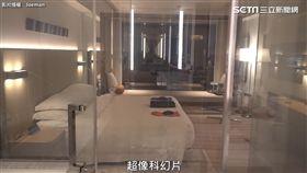 飯店內神奇玻璃讓Joeman驚呼「超像科幻片」。(圖/翻攝自JoemanYouTube)