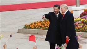 川普赴人民大會堂(1)中國大陸9日以隆重軍禮歡迎美國總統川普到訪。川普繫醒目的大紅色領帶,多次主動與中國國家主席習近平握手。圖為中國國家主席習近平在北京人民大會堂東門外廣場舉行歡迎儀式。(中新社)中央社 106年11月9日