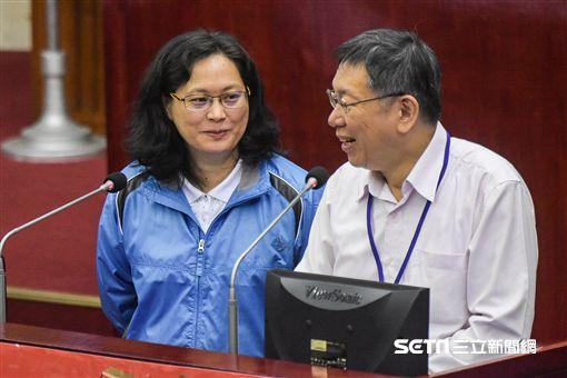 台北市市長柯文哲,勞動局長賴香伶 圖/記者林敬旻攝