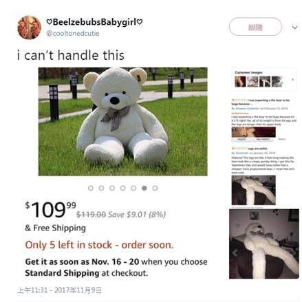網拍,熊娃娃,娃娃,亞馬遜,長腿 圖/翻攝自推特