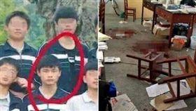 行兇學生(紅圈處)及命案現場。翻攝自《微博》