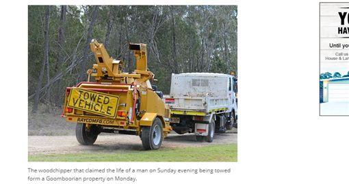 澳洲男子遭碎木機絞碎亡。(圖擷取自The Gympie Times)