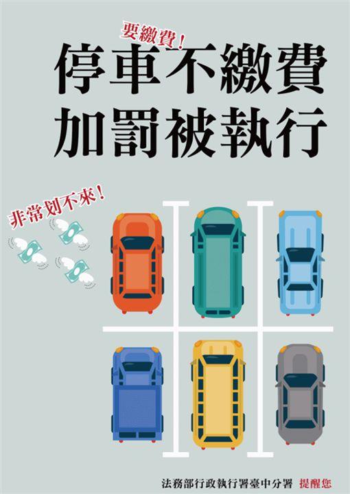 法務部全國13個分署同步執行「強力執行停車費及罰鍰案件專案」宣導海報。(圖/台中分署提供)