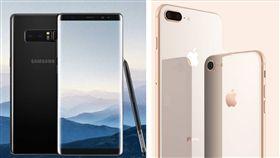 台灣10月手機銷售排行出爐囉!其中奪了第一、第二名的分別是iPhone 8 Plus 64GB、256 GB,至於安卓旗艦機種部分,僅有三星Galaxy Note 8搶進第4名。整體來說,10月排行榜當中出現的機種和9月相比,並沒有太多的變化。(組圖/翻攝自三星、蘋果官網)