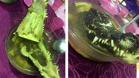 太豐盛了!有網友日前參加喜宴看到一道激似「恐龍」的菜色,尖牙動物熬煮在湯頭中,讓其他網友看後紛紛直呼,「好恐怖!嚇到要吃手手了。」(圖/翻攝自爆廢公社)