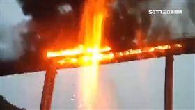 亞泥輸送帶起火! 消防隊冒險高空救援
