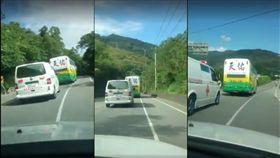 遊覽車故意擋救護車(臉書爆料公社)