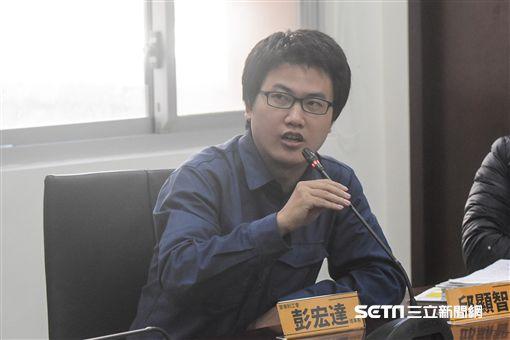 「勞方合法罷工,警方強力排除」記者會,普來利工會理事長彭宏達發言。 圖/記者林敬旻攝