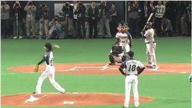 日本滑雪選手開球開到一壘(圖/翻攝自5CH)