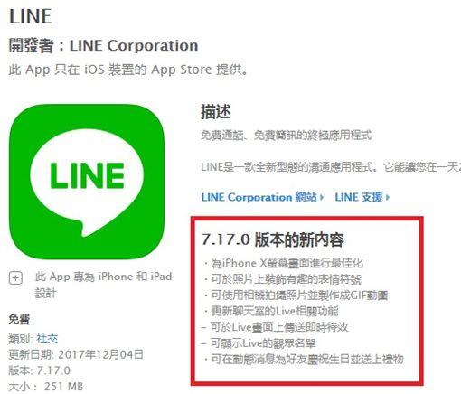 社交軟體LINE在今(4)日釋出最新7.17.0版本,主要針對iPhone X螢幕畫面進行最佳化,讓不少網友得知後相當開心,因為等了快1個月終於改善了,甚至還可以全螢幕使用。(圖/翻攝自iTunes)