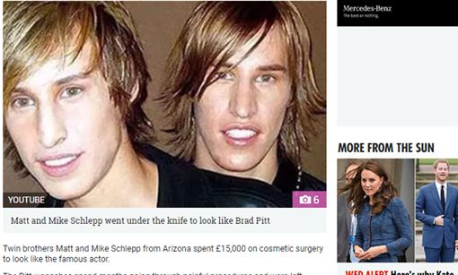 美國,雙胞胎,兄弟,布萊德彼特,整型,整容,外貌,滿意,成果https://www.thesun.co.uk/fabulous/5056365/twins-brad-pitt-angelina-wannabe-sahar-tabar/