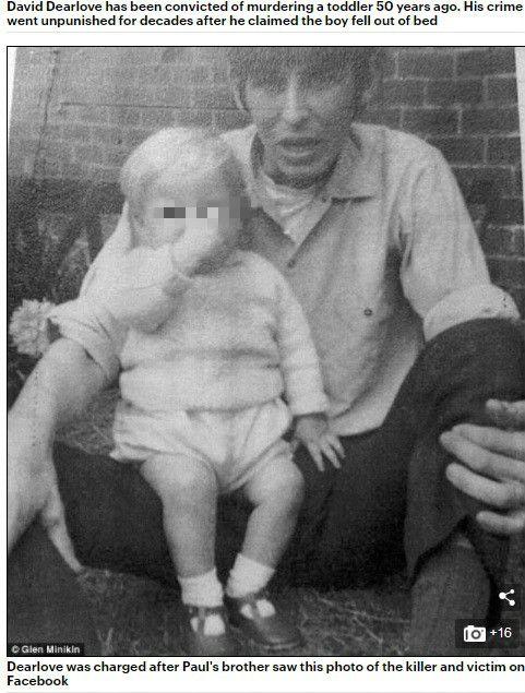 一張臉書照片揭發一場殺嬰案!英國有一名男子皮特(Peter Booth)日前翻到繼父戴維(David Dearlove)和弟弟保羅(Paul Booth)合照,意外讓他想起繼父對弟弟施暴畫面,成功揭發一件「半個世紀」謀殺案!(圖/翻攝自每日郵報)
