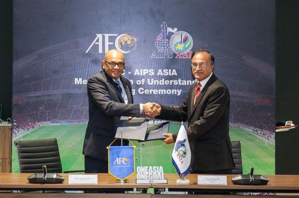 ▲亞洲足球聯盟與亞洲體育記者聯盟簽訂合作備忘錄。(圖/AIPS Asia提供)