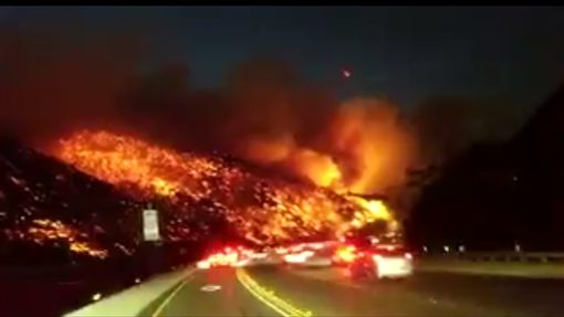 美國,洛杉磯,湯瑪士野火,高速公路,野火,森林大火(推特)