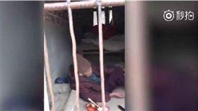 禽獸不如!孽子鎖93歲老母住進豬籠 坐水泥地、吃冷飯 翻攝自微博《時間視頻》