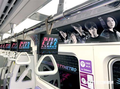 桃園機場捷運五月天彩繪列車。(圖/機捷提供)