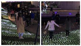 「耶誕燈草皮」超浪漫!民眾搶拍美照 竟一腳踏上…燈秒熄 圖/翻攝自爆怨公社