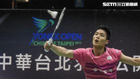 台北羽球公開賽男單冠軍賽周天成 圖/記者林敬旻攝