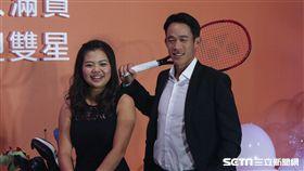 ▲台灣大將贊助網球好手莊吉生(右)和高球女將徐薇淩兩位體壇新星。(圖/記者蔡宜瑾攝影)