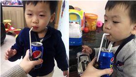 媽媽成功用可樂掩護餵孩子吃藥,笑翻網友。(圖/翻攝微博)