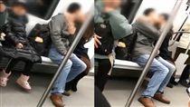 大陸情侶在地鐵上激吻8站沒停過,一旁女童好尷尬。(圖/梨視頻)
