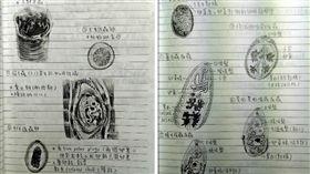 Dcard,筆記,寄生蟲,微生物,手繪,素描,畫畫 (圖/翻攝自Dcard)