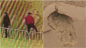 上海,金山,沙雕,欄杆,上海陸家嘴全景,堅固,破壞,腳印,修復,大陸 圖/翻攝自金山傳播微博 https://goo.gl/wGQPG1
