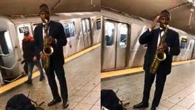 紐約中央車站街頭藝人演奏中華民國國歌,讓網友聽到超暖心。(圖/翻攝爆料公社)