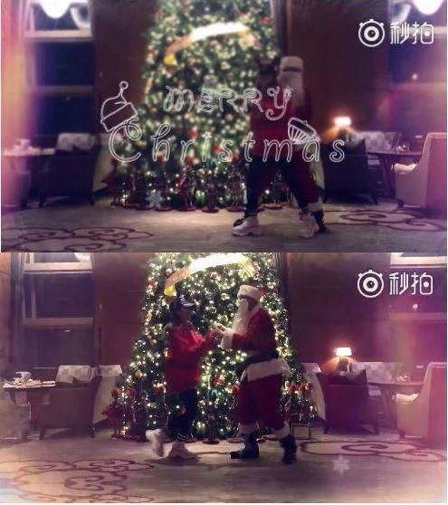 ▲周揚青上傳與聖誕老人共舞的影片。(圖/翻攝自周揚青微博)