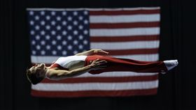 ▲Logan Dooley在2017美國體操錦標賽中的彈簧床演出。(圖/美聯社/達志影像)