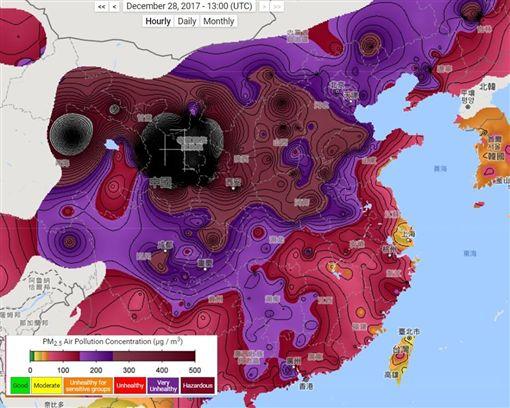 中國大陸,霾害,霧霾,黑洞,PM2.5,沙塵暴,河西走廊,空污(圖/翻攝自berkeleyearth.org)http://berkeleyearth.org/air-quality-real-time-map/