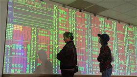 台股上漲(2)台北股市28日收盤上漲80.97點,為10567.64點,漲幅0.77%,成交金額新台幣1044.21億元。圖為投資人觀望上漲盤勢。中央社記者董俊志攝 106年12月28日