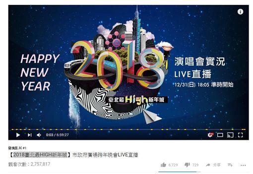 台北跨年晚會登熱門影片冠軍 24hr吸引近3百萬點閱!圖翻攝自youtube