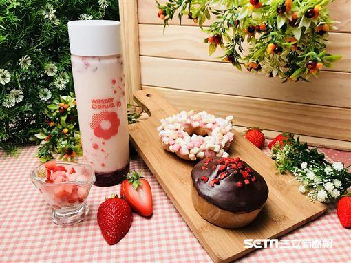 草莓季限定甜甜圈。(圖/Mister Donut提供)
