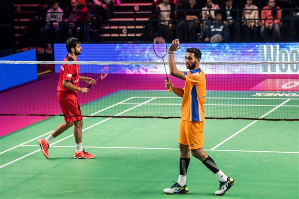 ▲Prannoy Kumar(右)在印度羽球超級聯賽中仍維持不敗之身。(圖/翻攝自粉碎大師隊臉書)