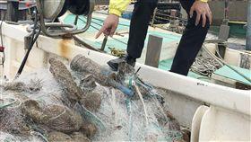 漁船出海捕魚 撈到多顆未爆彈(1)新竹縣一艘漁船4日上午從新豐鄉坡頭漁港出海捕魚,竟意外撈到多顆未爆彈,緊急通報軍方等相關單位,陸軍未爆彈處理小組趕往處理。(民眾提供)中央社記者魯鋼駿傳真 107年1月4日