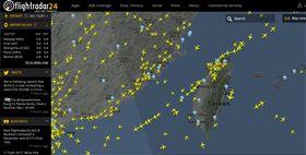Flight Radar 24台灣領空。(圖/翻攝自Flight Radar24官網)