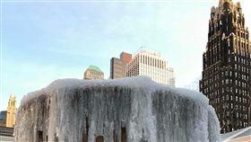 大暴風雪明籠罩美東  紐約市宣布停課酷寒籠罩美國東岸,紐約市進入冬季暴風雪警戒,4日(本地時間)全市停課,積雪估達5到8英吋。圖為曼哈頓中城布萊恩公園結冰噴水池。中央社記者黃兆平紐約攝  107年1月4日