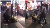 中國大陸,廣西,男子街頭暴打女子(圖/翻攝自秒拍)