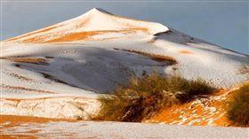 沙漠,下雪,積雪,撒哈拉沙漠,Ain Sefra,阿爾及利亞 圖/翻攝自express.co.uk