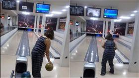 巴西女子打保齡球砸壞電視機。(圖/翻攝自YouTube)