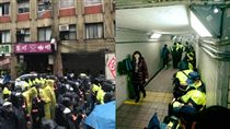 勞團抗議,警察在地下道休息 圖/臉書,資料照