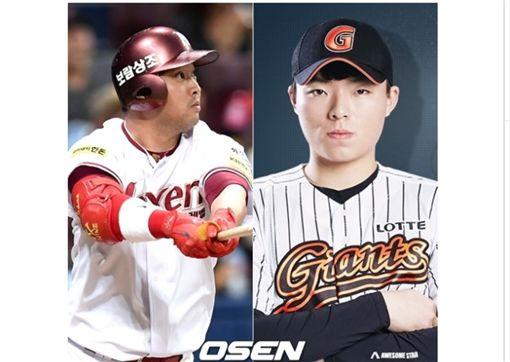 ▲樂天巨人交易獲得強打蔡泰仁(左)。(圖/截自韓國媒體)