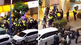 今(14)日凌晨1時兩班人馬疑互看不順眼,在KTV前大打出手,警方接獲報案後,立刻前往制止,不料滋事少年不聽勸越打越狠,甚至跟員警發生衝突,直到支援警力到場後,才結束這場鬥毆。目前警方已將7人帶回派出所訊問,訊後將依社會秩序維護法函送。(圖/翻攝自爆料公社)