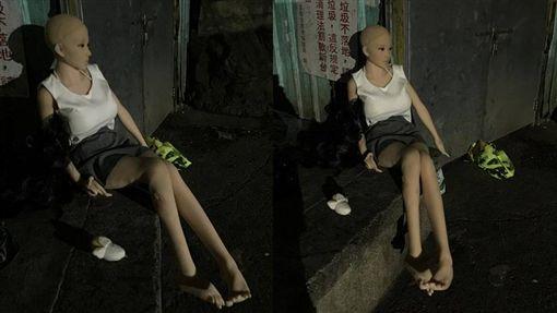 短裙女冷冬坐路邊、充氣娃娃/臉書爆料公社